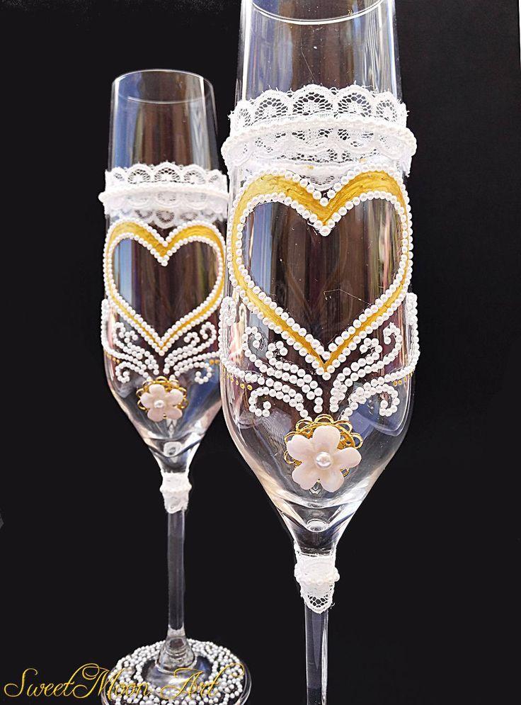 Copas para brindar, copas para boda, copas doradas, copas para champagne, brindis esposos, brindis boda, flautas brindis, flautas champagne de SweetMoonArt en Etsy