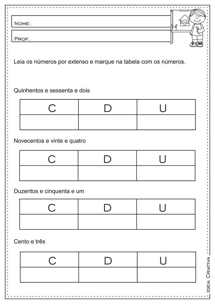 Atividades Educativas Centena Dezena e Unidade 3° ano fundamental