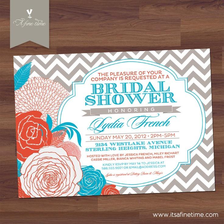 bridal shower invitations with recipe card attached%0A Bridal Shower Invitation  Antique Floral  u     Chevron  Vintage Typography   Coral  Aqua
