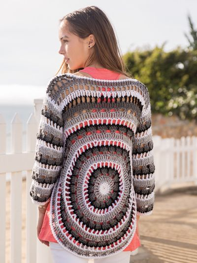 Flattering to many body types, this openwork circular sweater can easily be dressed up or down for multiple seasons. It is made using 5 colors of #4 worsted-weight yarn and a size J/10/6mm crochet hook or size needed to obtain gauge. Instructions are...