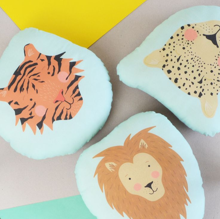Big Cats Cushions, Set of Three Children's Cat Face Cushions, Illustrated Tiger, Lion and Leopard Head Plush Cushion, Childrens Room Decor by HannahStevensShop on Etsy