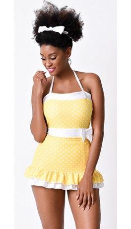 1950s Pin Up Yellow & White Polka Dot Elaine Two Piece Swimsuit