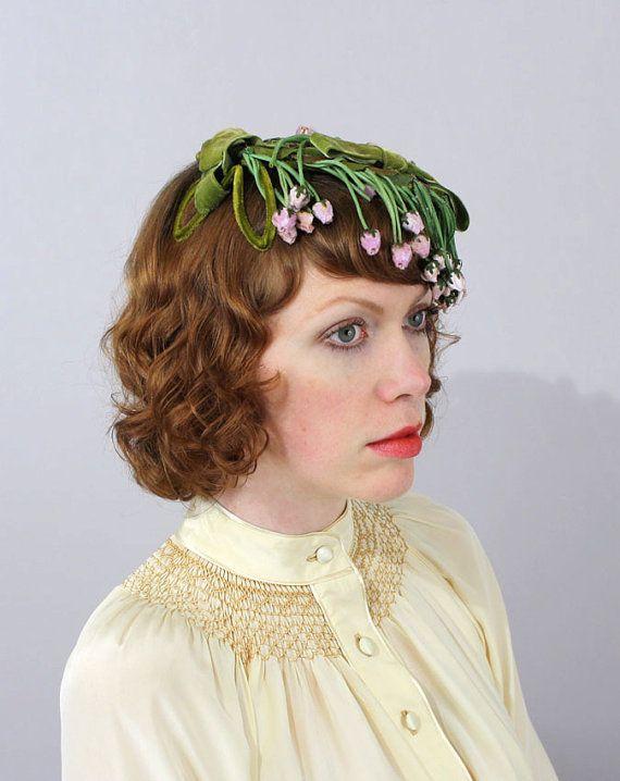 Vintage 1950s Hat Fascinator Green Pink Velvet Fl Cascading Rosebuds
