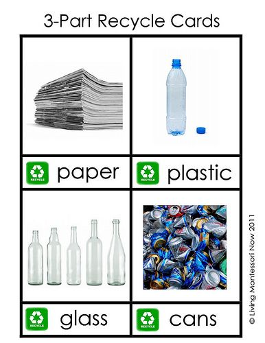 4 Recycle Cards for use in 3-part learning.  Make two copies - one as a master set of cards.  The other cut the photo and label piece.  Children should identify the photo, words, etc. match images to text.