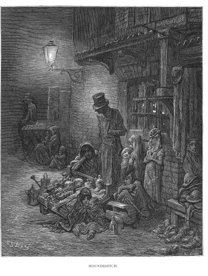 Houndsditch  London: A Pilgrimage (1872) // Engraving by Gustave Dore, one of 180 illustrations from the book by  , Blanchard Jerrold. The work focused on poverty and realism, a fact that made the work (which was very popular w/readers) quite *unpopular* with contemporary critics. Wonderfully evocative of the darker side of Victoriana.