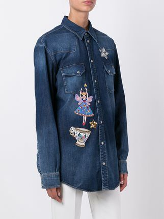 Dolce & Gabbana джинсовая рубашка с вышивкой