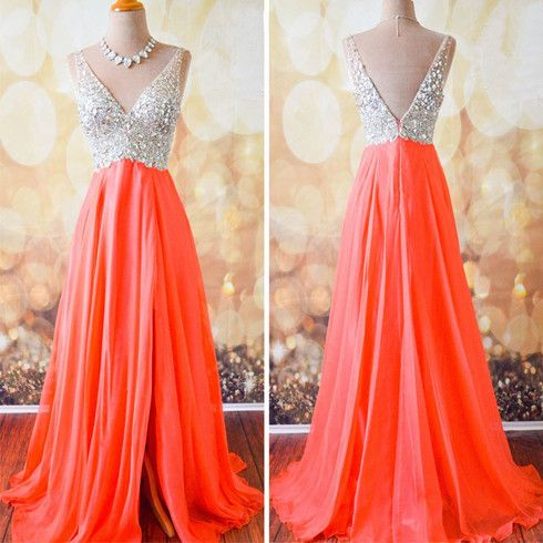 Gorgeous Coral Formal A Line V Neck Side Split Shinning Long Prom Dresses, WG202 The long prom dress is fully lined, 4 bones in the bodice, chest pad in the bust, lace up back or zipper back are all a