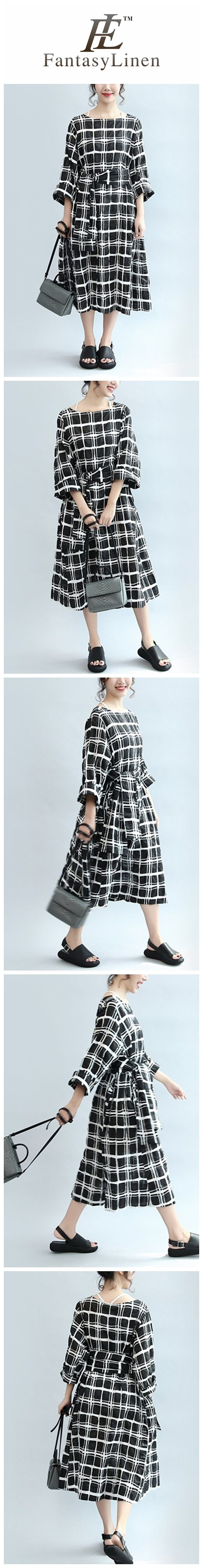 Plaid Casual Loose Linen Dress Women Clothes  Q2405