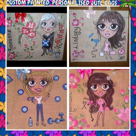 Personalised jute bags hand painted jute bags. large by Aligri