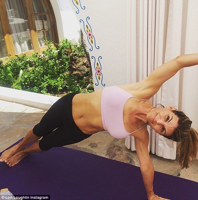 Athleticism: Lori Loughlinshared a photo of her impressive yoga skills on her Instagram a...