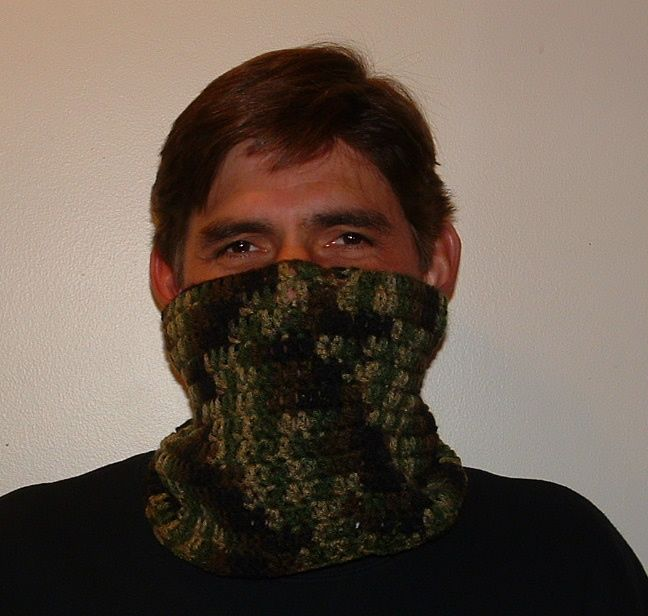 Man's Neck Wrap Scarf (Cowl)  It would make an excellent neck warmer and face warmer for winter and for snowmobiling.  from Cindy at myrecycledbags.com