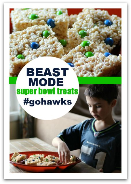 Beast Mode Rice Krispie Treats - I know that Skittles have significance for the Hawks, but I still think I'd use m and m's.