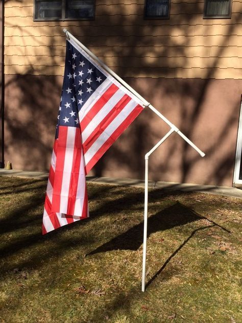 Rotating PVC Flag Pole Kit with Choice of Flag - RV, Camping, NASCAR