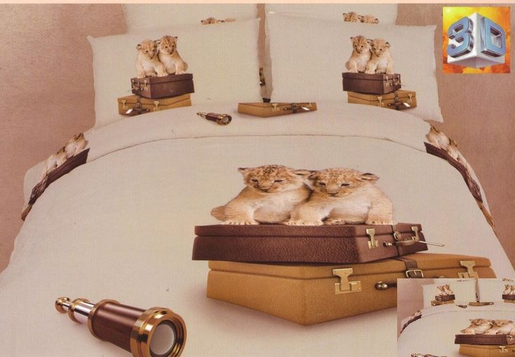 Hnědé ložní povlečení s kočičkami a dalekohledem