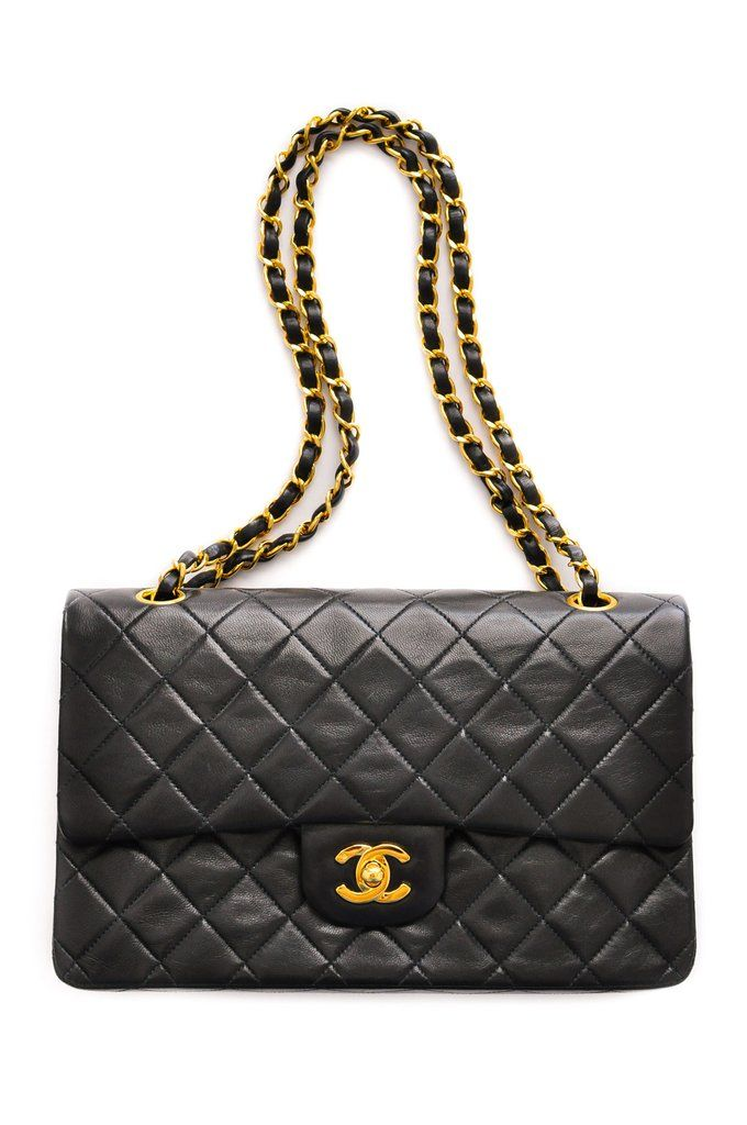 d88057920d Vintage 1990s Chanel 2.55 Classic Flap Bag in Black Lambskin from Sweet &  Spark.