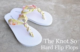"""Great idea to fix """"ouchy"""" flip flops with pretty fabric!"""