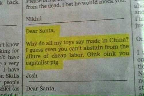 Proof that Santa is a Capitalist Pig