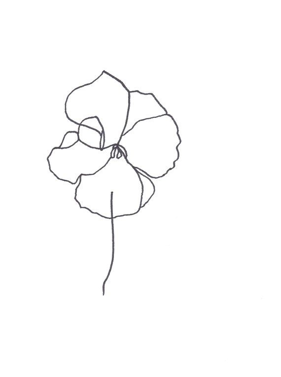 Original Botanical Drawing Minimalist Flower Drawing Etsy Abstract Flowers Minimalist Flowers Flower Drawing