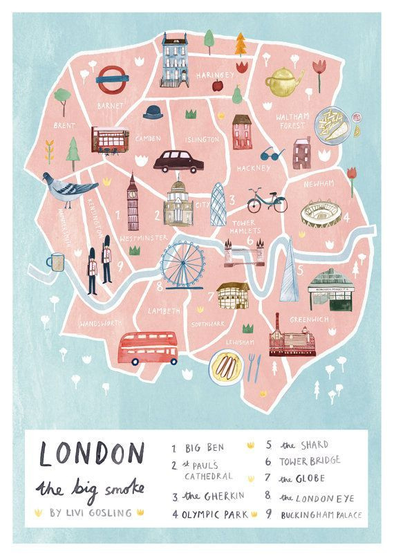 Illustrated map of London by Livi Gosling (via Etsy).
