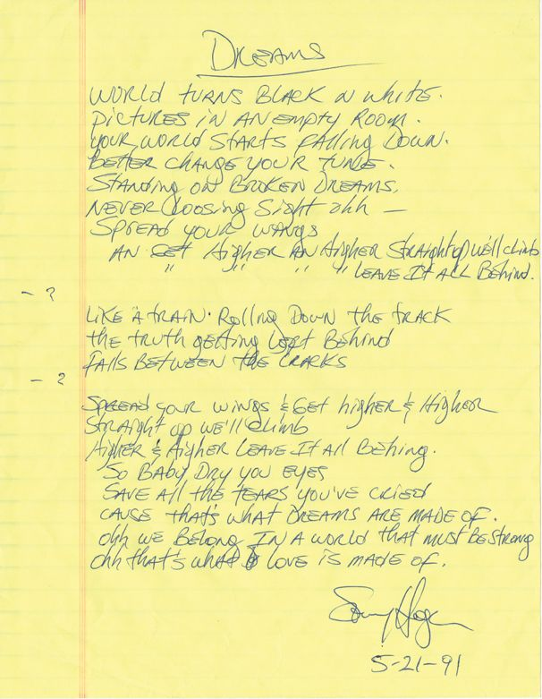 "Sammy Hagar of Van Halen handwritten signed lyrics for ""Dreams"".  Rock 'n' Roll Auction, Lot 222 / December 18th, 2013  https://www.profilesinhistory.com/auctions/rock-roll-auction-59-2/"