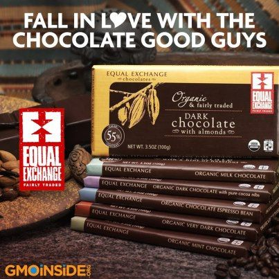 Equal Exchange is a sustainable, fair trade, alternative to GMO laden HERSHEY'S, Mars, Nestle, and Godiva Chocolates. http://www.facebook.com/GmoInside