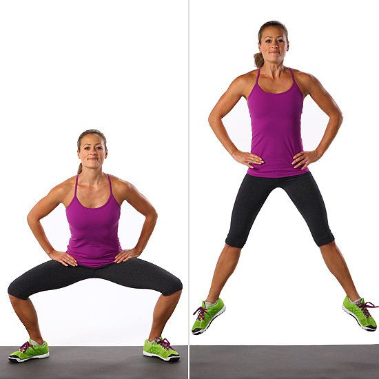 Sumo squat jumps offer a new take on the traditional — one that you're definitely going to feel in your quads and deep glutes.  Stand with your feet shoulder width apart and slightly turned out, arms resting on your hips.  Bend your knees and