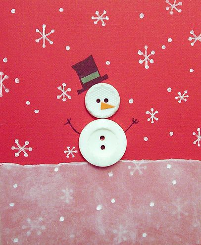 Button Snowman. Metallic pen for snowflakes. Torn vellum for snow. Cute! =)