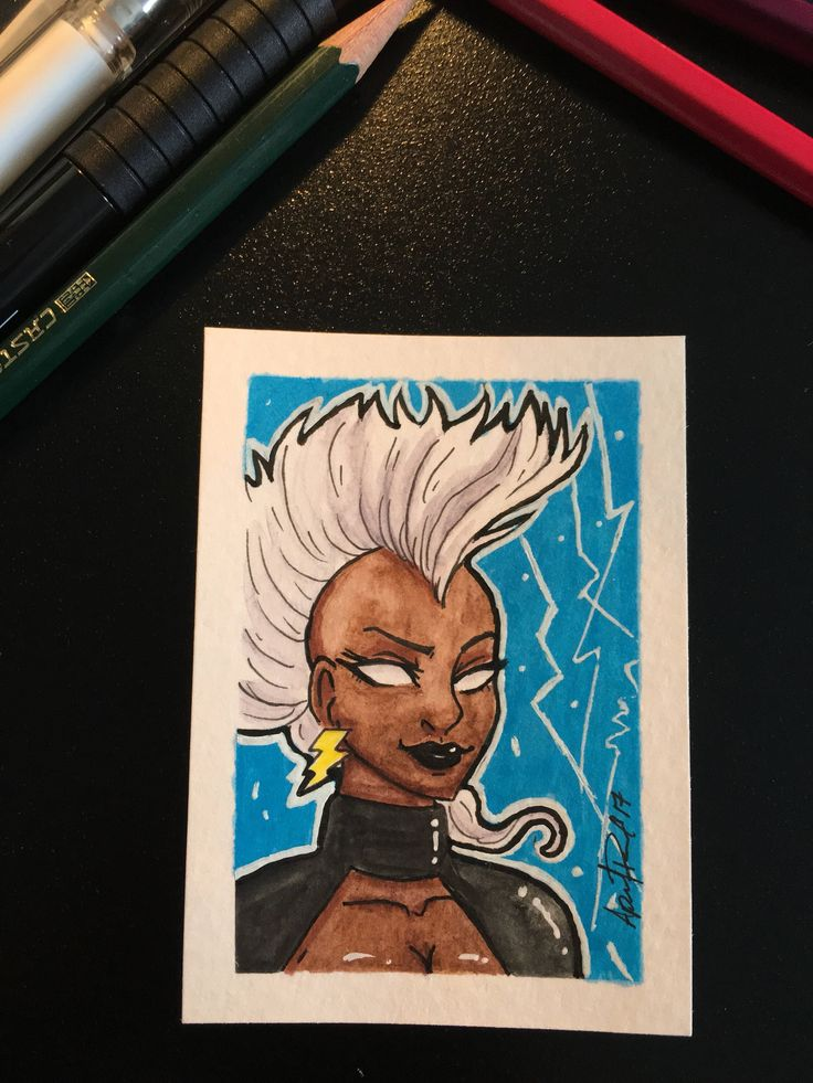 OOAK Art Trading Card Storm comic character by MissAprilMDesigns on Etsy https://www.etsy.com/ca/listing/513254560/ooak-art-trading-card-storm-comic