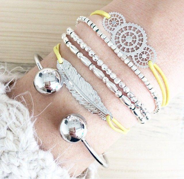 elastiek armband veer zilver