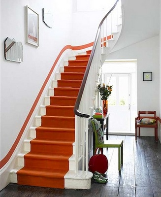 "Stairway with a painted runner...but what really ""makes it"" is the pinstriped wall!"