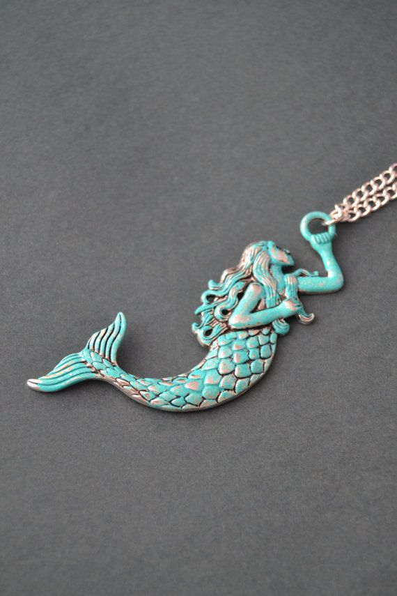 Verdigris patina large mermaid pendant necklace - silver mermaid jewelry - long mermaid necklace - verdigris by Valkyrie's Song €17.74