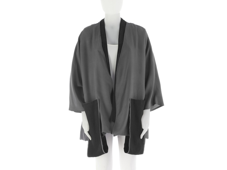 Jacket in gray silk and black linen designed and made in Italy by Eleonora Niccolai.