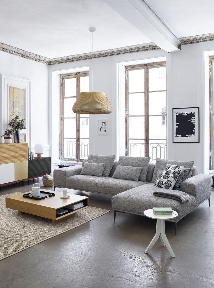Sorrento 3 Sitzer Sofa Aus Grauem Stoff Fur Deko Salon Canape Gris Canape Habitat Deco Canape Gris