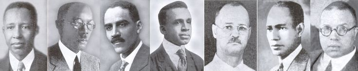 """The founders, known as the """"Jewels"""" of the fraternity, are Henry Arthur Callis, Charles Henry Chapman, Eugene Kinckle Jones, George Biddle Kelley, Nathaniel Allison Murray, Robert Harold Ogle, and Vertner Woodson Tandy."""