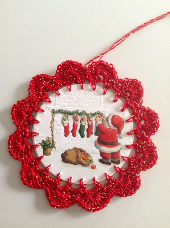 Christmas card ornament red and gold santa by littlebundles3, $2.50