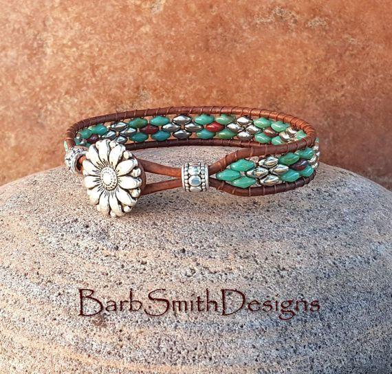 Perline d'argento turchese bracciale di cuoio di BarbSmithDesigns