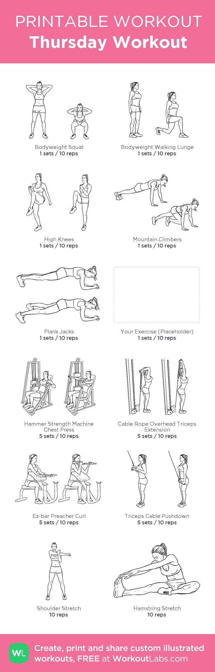 Thursday Workout:my custom printable workout by @WorkoutLabs #workoutlabs #customworkout