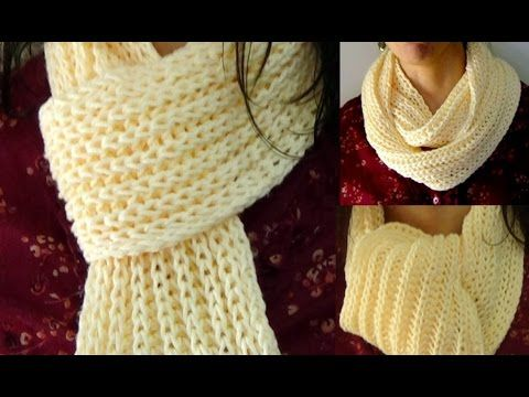 Cómo Tejer BUFANDA DE LUJO-Principiantes-How to Knit SCARF for Beginners 2 Agujas (350) - YouTube