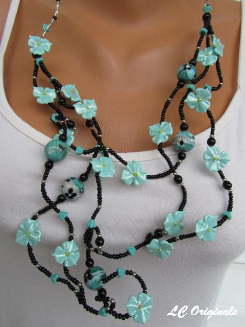 TURQUOISE WATERFALL glass flower necklace and earrings set