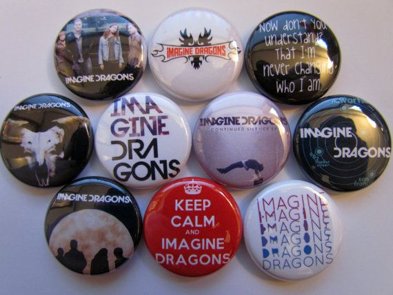 Imagine Dragons Pinback Button Alternative Rock Music Band  Badge Pin (pack of 10)