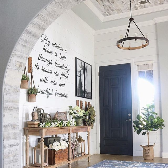 Remember when I said I had a few more projects planned for the entryway? Well, we just checked another one off the list ✔️We lined the inside of our archway with stikwood from /stikwooddesign/ in reclaimed weathered wood white and I loved it so much we did the ceiling, too! I have a neck cramp from staring at it all day, it's so pretty!  I'll share some pics of the process on my story if you want to take a look  P.S. This makeover was fueled by 90s music