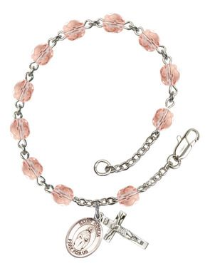 St. Odilia Silver-Plated Rosary Bracelet with 6mm Pink Fire Polished beads