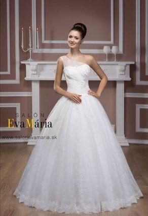 e5d079299fb5 Svadobné šaty s jedným ramienkom a so širokou sukňou