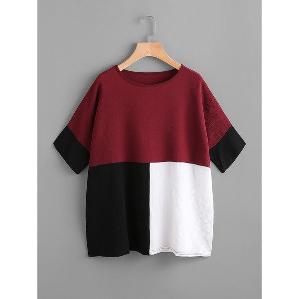 SheIn(sheinside) Color Block Batwing Blouse ($10) ❤ liked on Polyvore featuring tops, blouses, burgundy, red blouse, batwing blouse, colorblock top, red top and multi color blouse