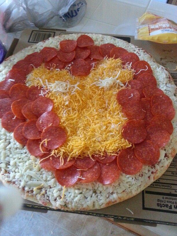 Iron Man pizza for Jesigh's 3rd bday...  #marvel #ironman #Birthdayideas #homemadefun