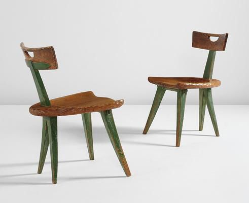 Artist: Attributed to Giovanni Michelucci Title: Pair of side chairs Medium: Ash, painted wood. Dimensions: Each: 29 3/4 x 17 1/4 x 20 in. (75.6 x 43.8 x 50.8 cm) Lot Number: 107 Estimate: 4000,00US$ - 6000,00  Auction: DESIGN Location: NEW YORK Sale Date: 13 DECEMBER 2016 Website: http://www.phillips.com Phone: US +1 212 940 1228 UK +44 20 7318 4045  Try the Phillips app for yourself -- available from the iTunes App Store http://itunes.apple.com/app/id397496674