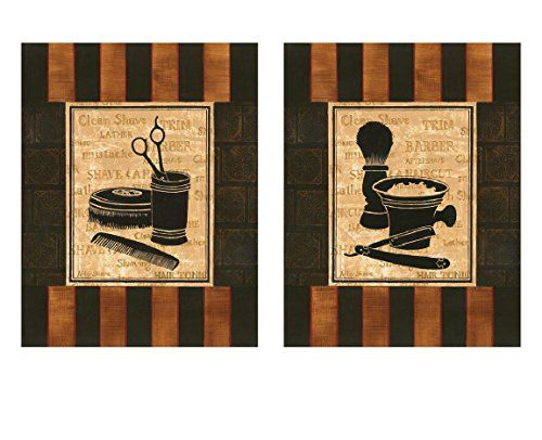 Classic Old Fashioned Barber Shop Shaving & Haircut Print...