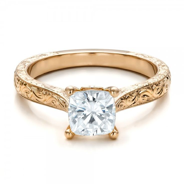 Cushion Cut Diamond Solitaire Vintage Ring 18K Rose Gold