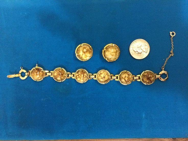 rare 1960 glass (crystal?) bracelet earrings Sherman signed