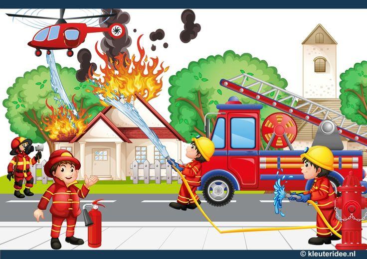 Interactieve praatplaat thema brandweer voor kleuters, kleuteridee, met veel informatieve video's